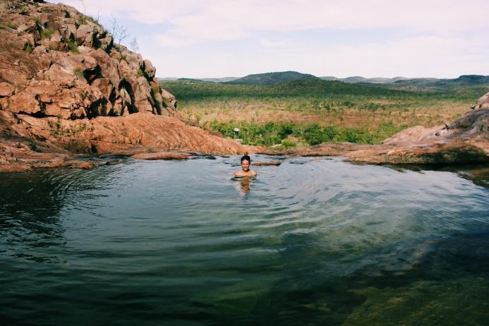 Badderen met uitzicht in Kakadu NP