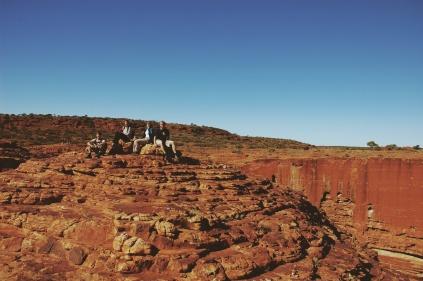 Vier kleine Europeaantjes zaten op een steen