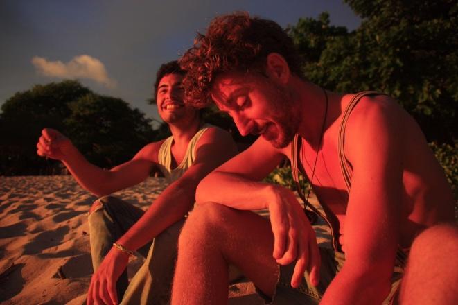 Ron en Berni in de échte kleuren van een zonsondergang